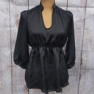 Zara Basic Black Plunge Neck 1/2 Sleeve Top Sz M